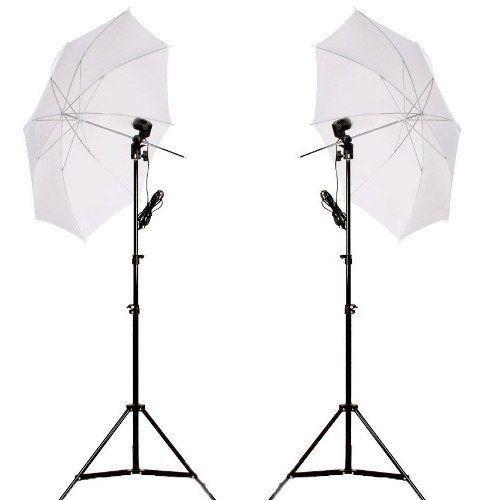 Kit De Iluminação Para Youtuber 110V - 2 Sombrinhas Difusoras + 2 Soquetes Simples Bocal E27 + 2 Tripes + 2 Lâmpadas 150w 110v