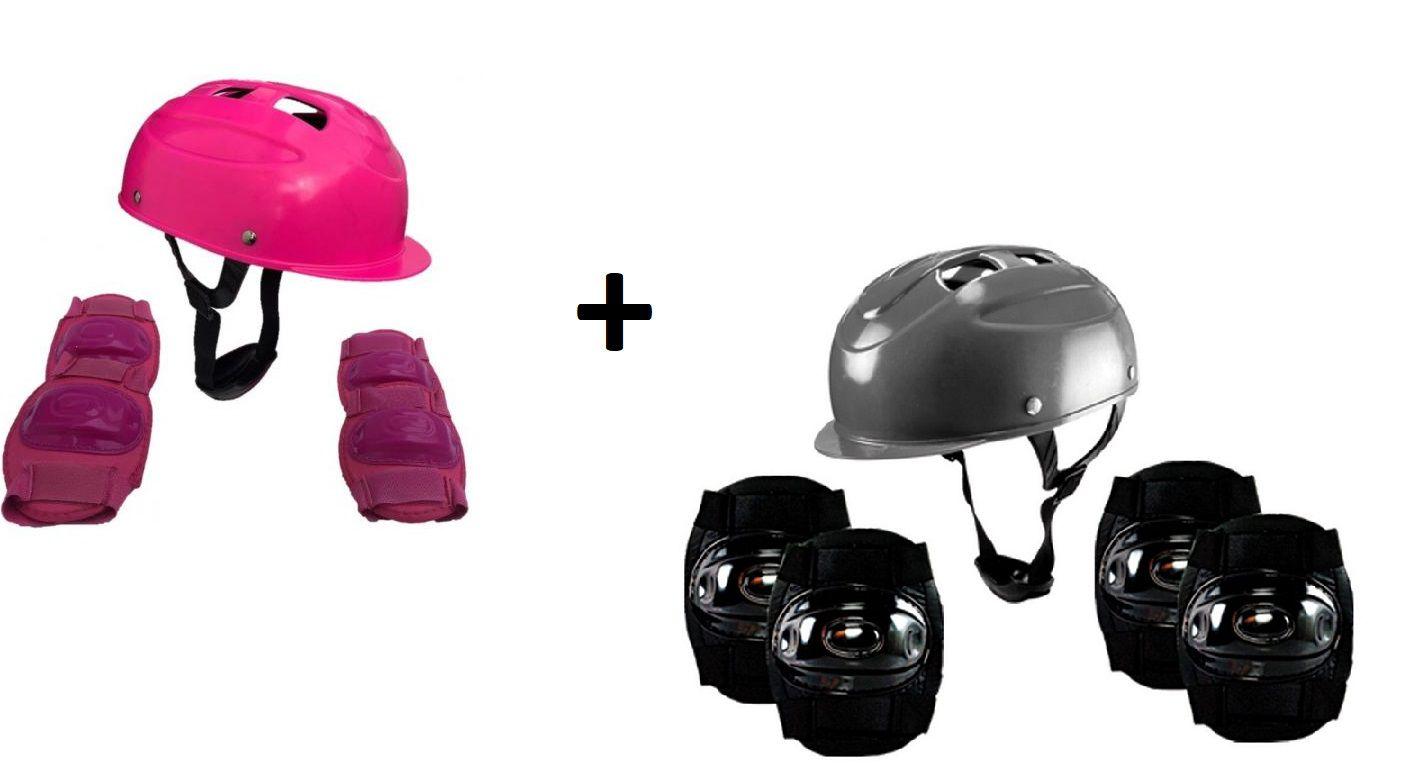 Kit De Proteção Para Skate E Patins Com 2 Capacete 2 Cotoveleira 2 Joelheira Rosa E Preto