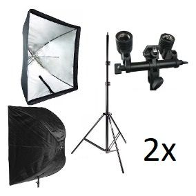 Kit Duplo Para Estúdio Fotográfico - 2 Softbox 90x90cm + 2 Tripés 2 Metros + 2 Soquetes E27