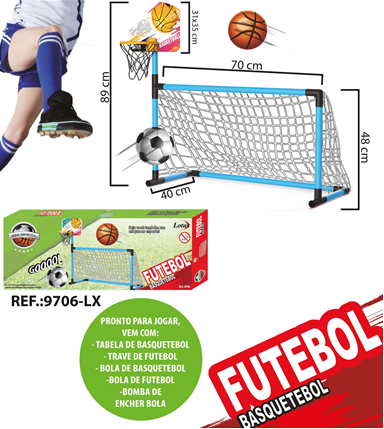 Kit Esportivo Mini Trave de Futebol E Cesta de Basquete - 9706