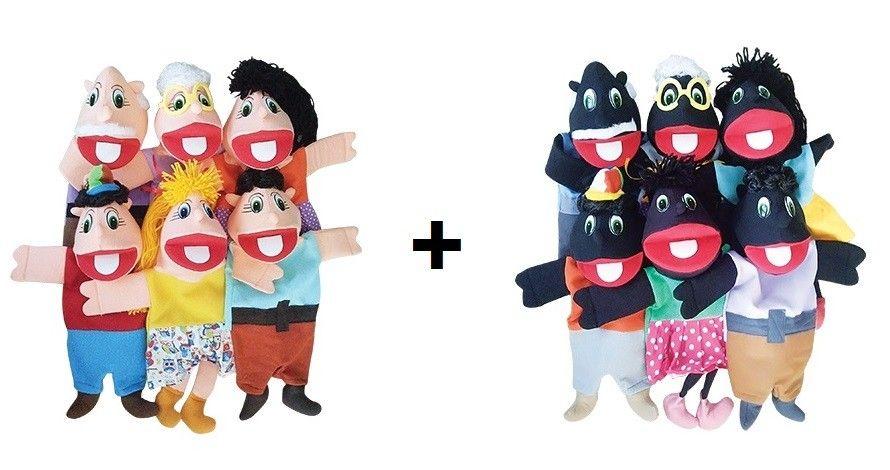 Kit Fantoche Evangélico Família Branca E Família Negra