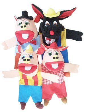 Kit Fantoches 3 Porquinhos + Chapeuzinho Vermelho - KIT001+KIT002