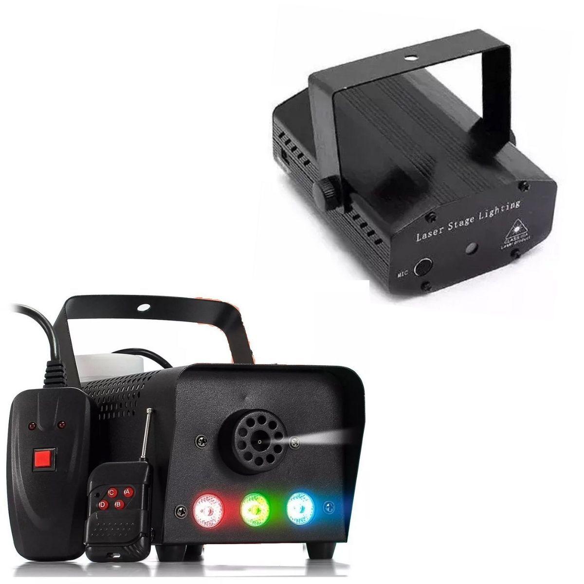 Kit Festa Com 2 Mini Laser Profissional Led Com 2 Maquina De Fumaça 600W Controle Sem Fio 600