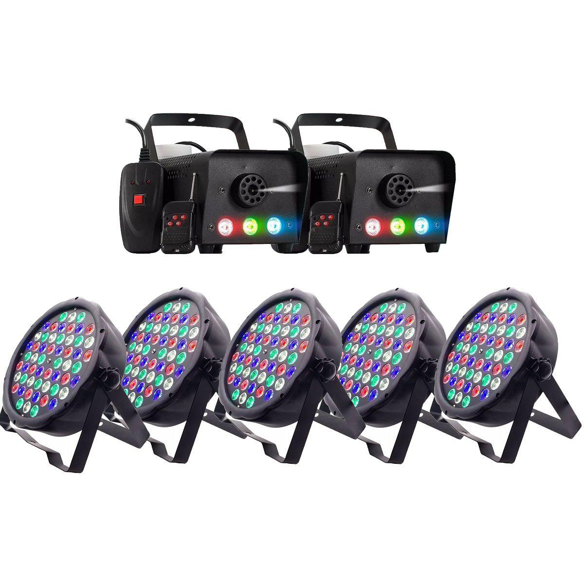 Kit Festa Com 5 Canhão De Luz Led Par 64 Rbgw 54 Leds 3w Strobo Dmx Digital Slim + Máquina de Fumaça 600w 3 Leds 1 Watt RGB Controle Sem Fio
