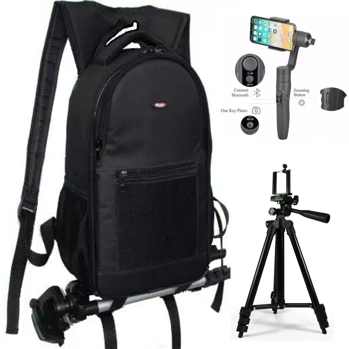 Kit Fotográfico Com Mochila + Tripé Profissional 1,2m + Gimbal Estabilizador Para Câmera E Celular Vimble 2