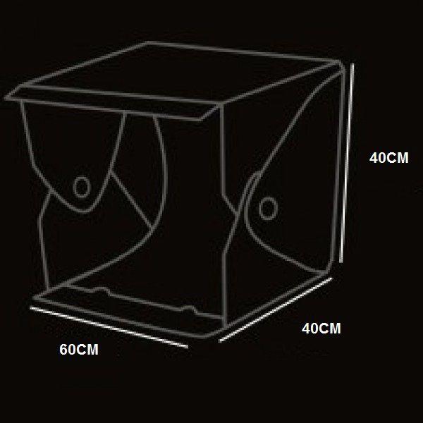 Kit Fotográfico Mini Estúdio 60cm 56 Leds Plus Evobox + Tripé De Mesa Zoom Style Gorilla Câmeras 1,5kg