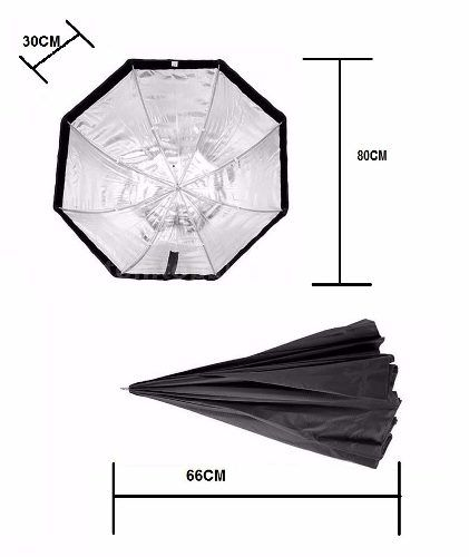 Kit Fotográfico Softbox Octabox 80cm + Tripé 2M + Soquete Simples E27 - SB1010-80+ST-803+Soquete Simples