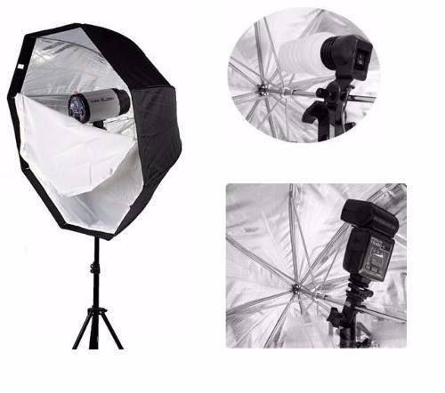 Kit Fotográfico Softbox Octabox 80cm + Tripé 2M St-803 + Suporte Speedlight + Soquete Duplo Bivolt