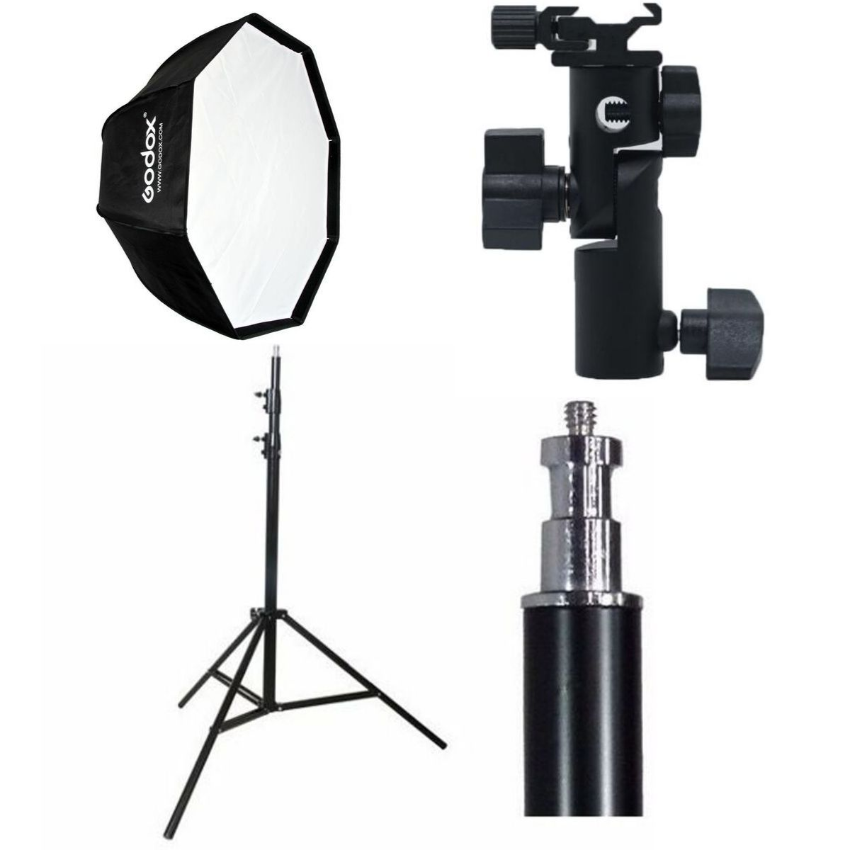 Kit Fotográfico Softbox Octabox Profissional Para Estúdio 80cm + Tripé 2M St-803 + Suporte Adaptador