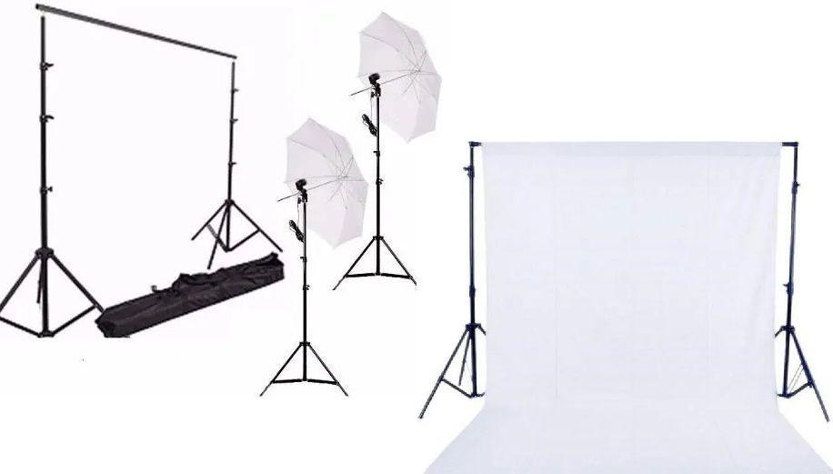 Kit Fotográfico Suporte Para Fundo Infinito + Kit Iluminação - BJ-14 + 2 Tripé 2M St803 + 2 Sombrinhas Difusoras E 2 Soquetes Simples Bivolt + Fundo Infinito