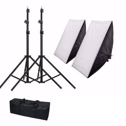Kit Iluminação Duplo Soquete Quadruplo Softbox 50x70 e Tripé 2M Bivolt - NB1