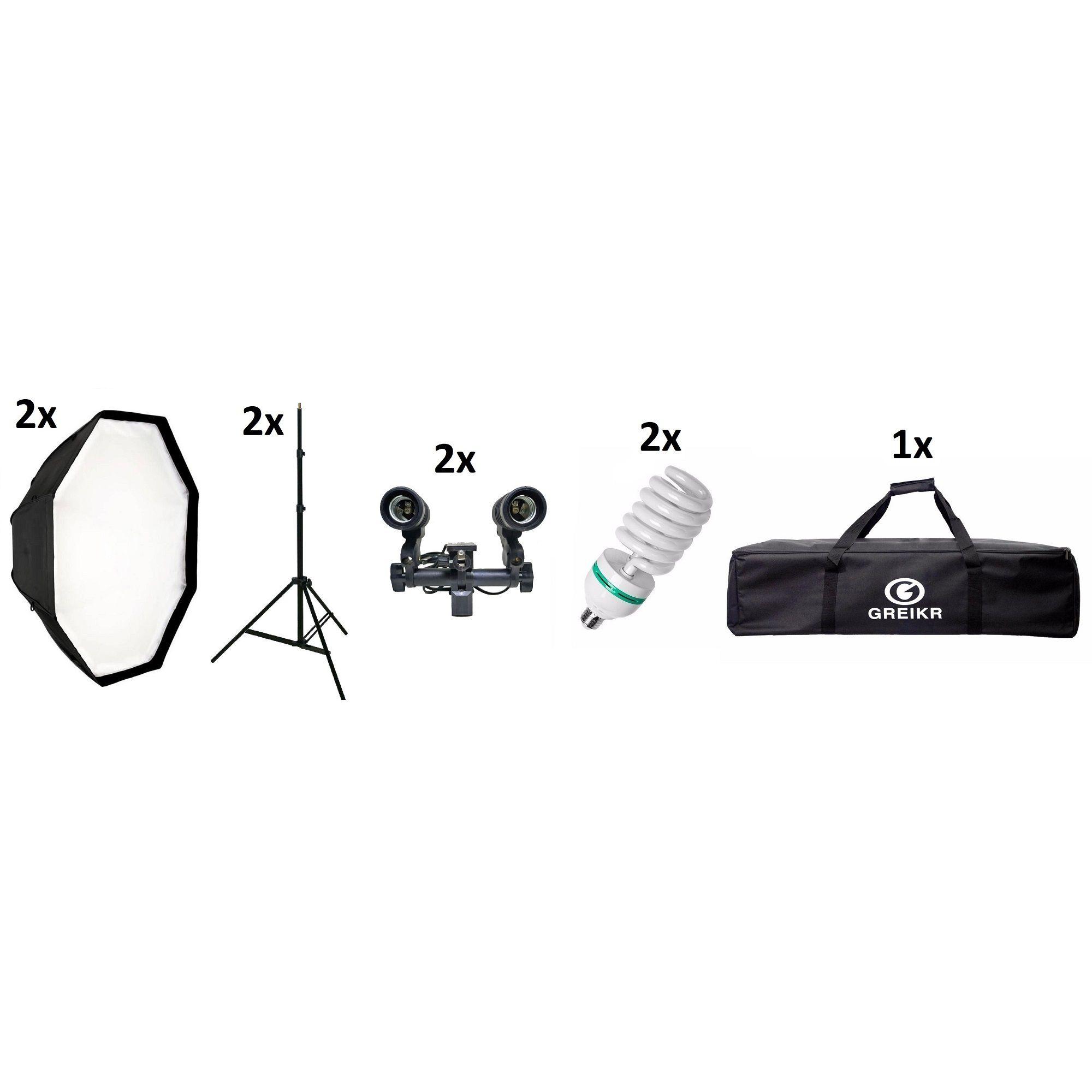 Kit iluminação Estúdio Fotográfico Softbox Octabox 120cm + Tripé + Sóquete Duplo + Lâmpada + Bolsa - 120CM+ST803+SOQUETEDUPLO+11045W+YA5027