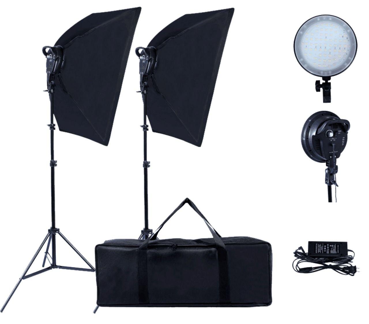 Kit de Iluminação de Led Ring Com Dois Softbox e Tripés - Bivolt LED600W
