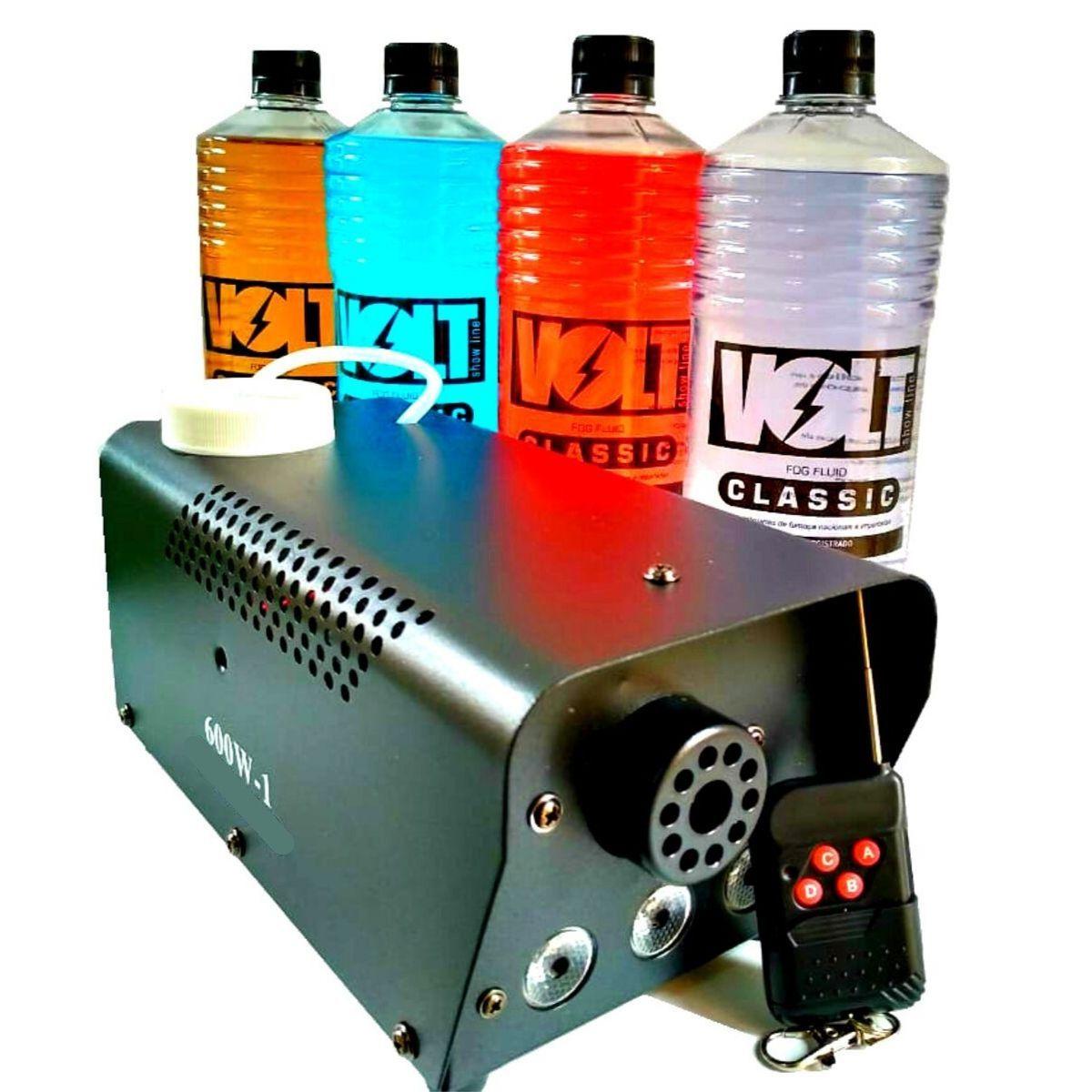 Kit Máquina de Fumaça 600W 3 Leds + 2 Litros de Líquido - XH-600W+MY1012