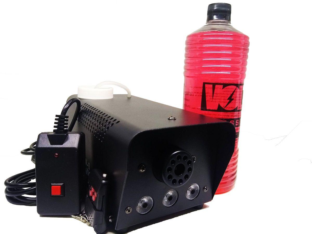 Kit Maquina de Fumaça 600W 3 Leds RGB + Líquido 1L - XH-600W+MY1012