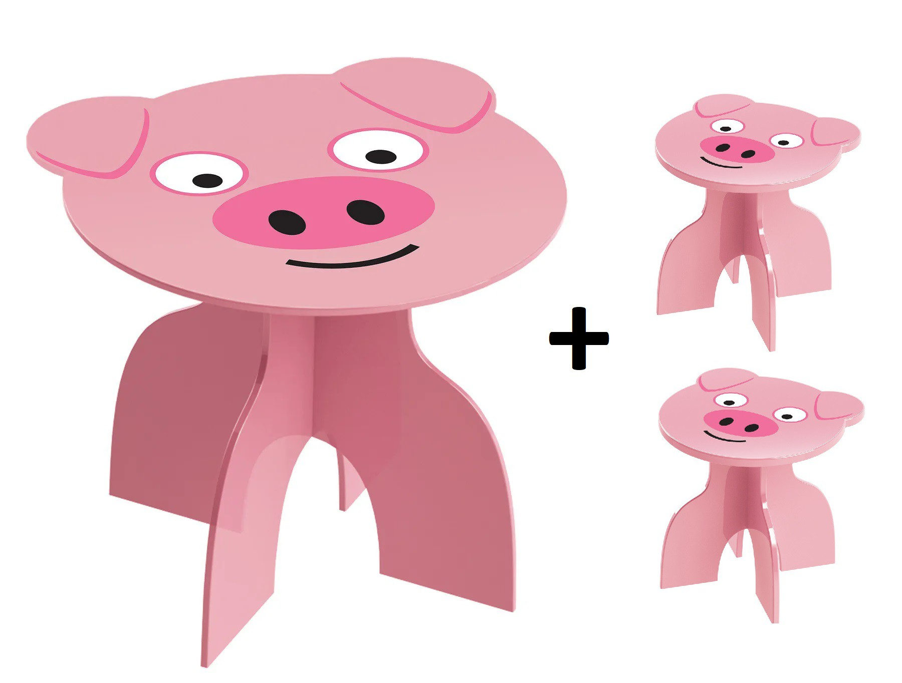 Kit Mesa + 2 Banquinhos Infantil Porquinho Rosa