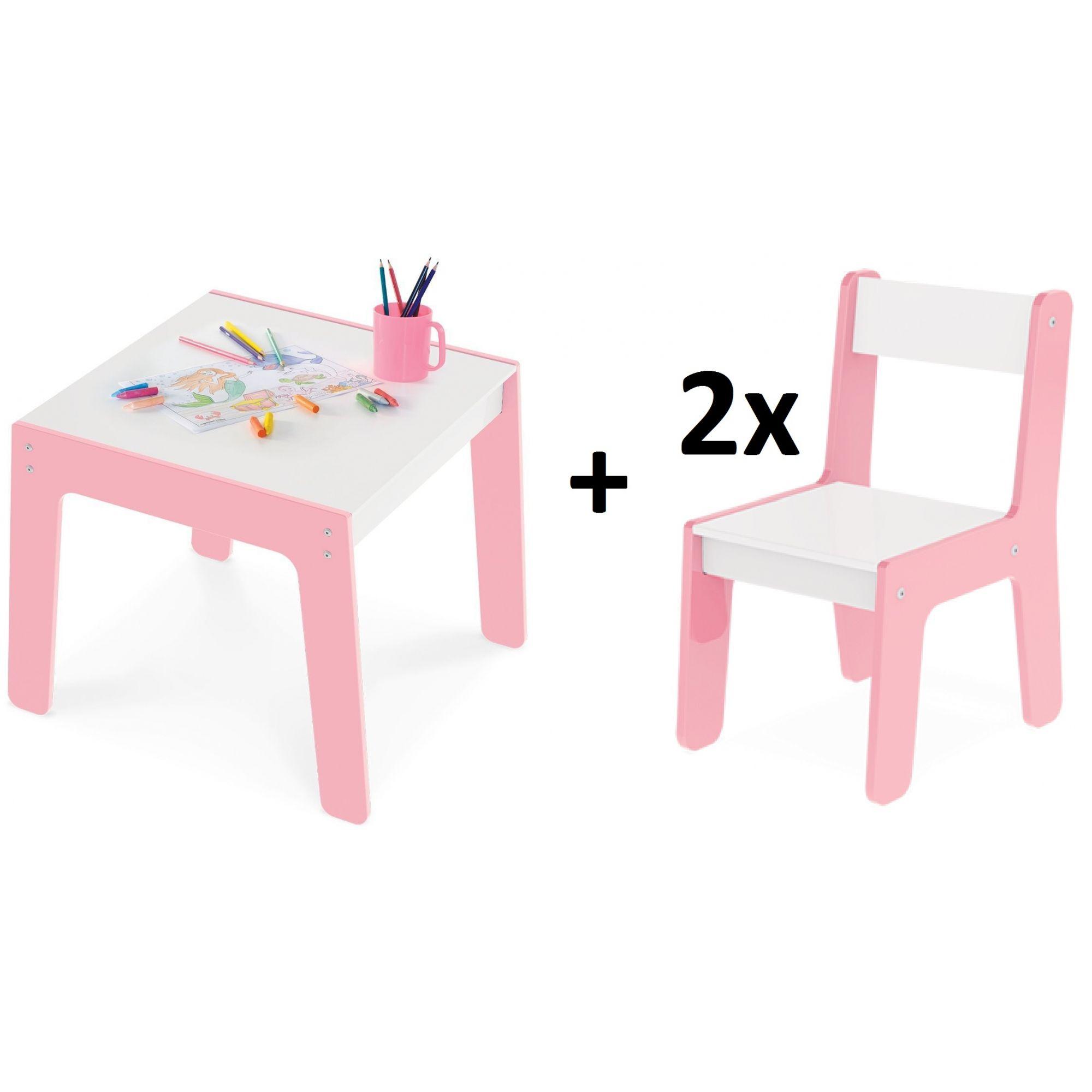 Kit Mesa Com 2 Cadeiras Infantil Rosa Em MDF Junges