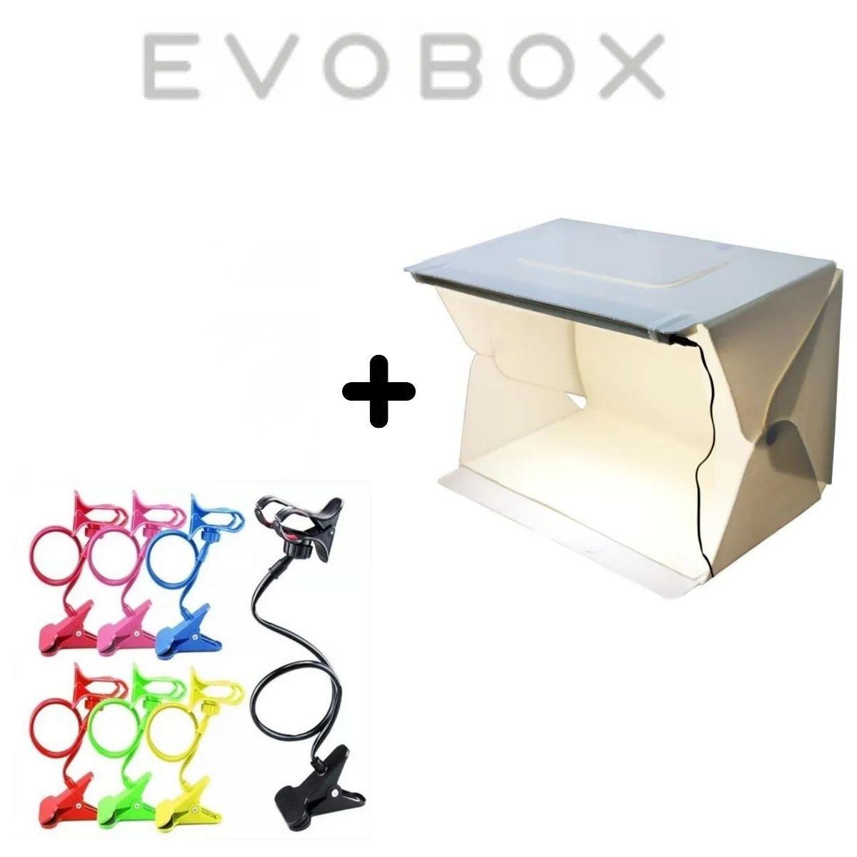 Kit Mini Estúdio De 56 Leds Evobox 60cm Plus + Tripé Articulado Para Celular Pescoço