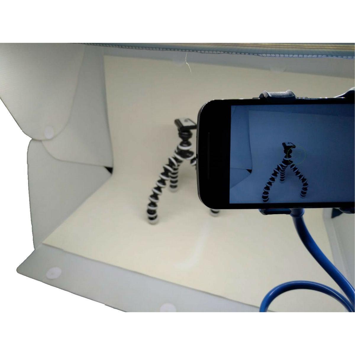 Kit Mini Estúdio De 56 Leds Evobox 60cm Plus + Tripé Gorila Flexível Suporta 1,5kg + Tripé Articulado Para Celular Pescoço