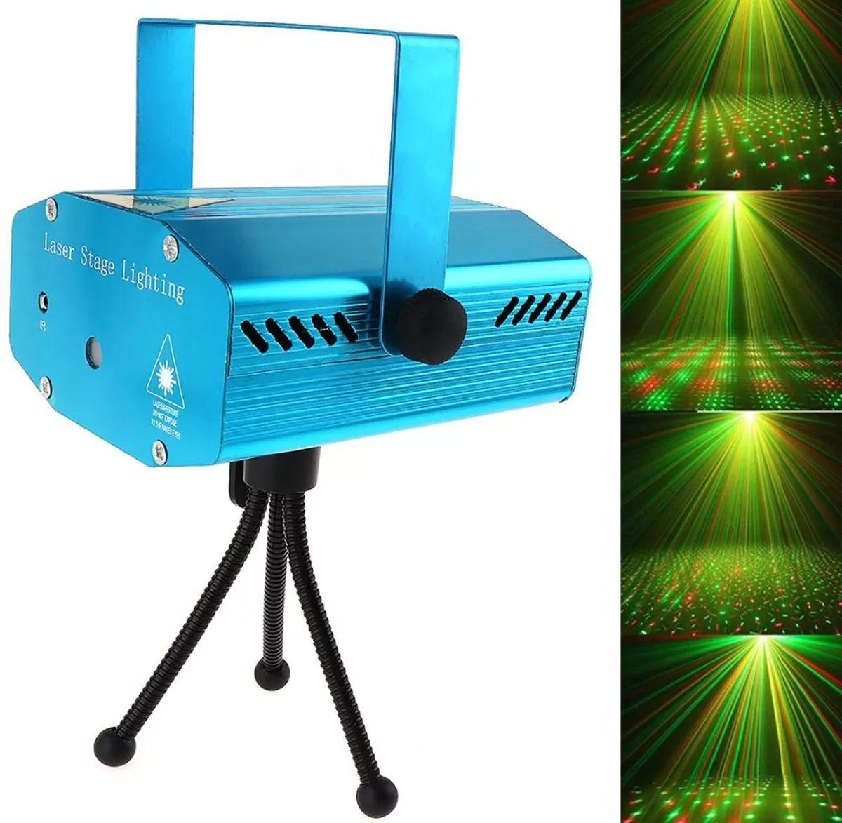 Kit Mini Laser Projetor Holográfico + Strobo 12 Leds Branco - SD-09+YX-043W
