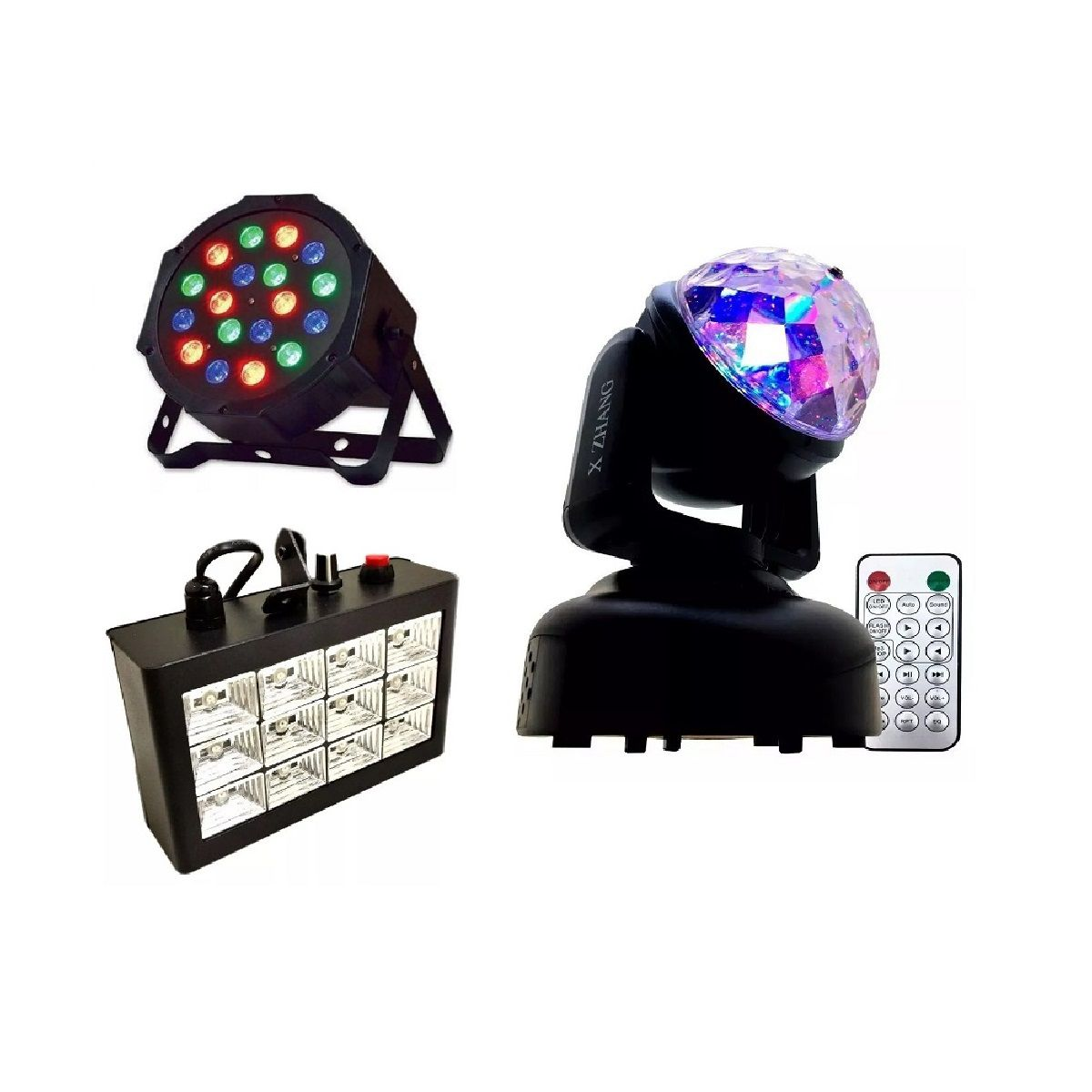 Kit Mini Moving Head RGB + Strobo 12 LEDs Branco Rítmico + Canhão Luz 18 LEDs - HL-080+12LEDBR+18LEDSLIM