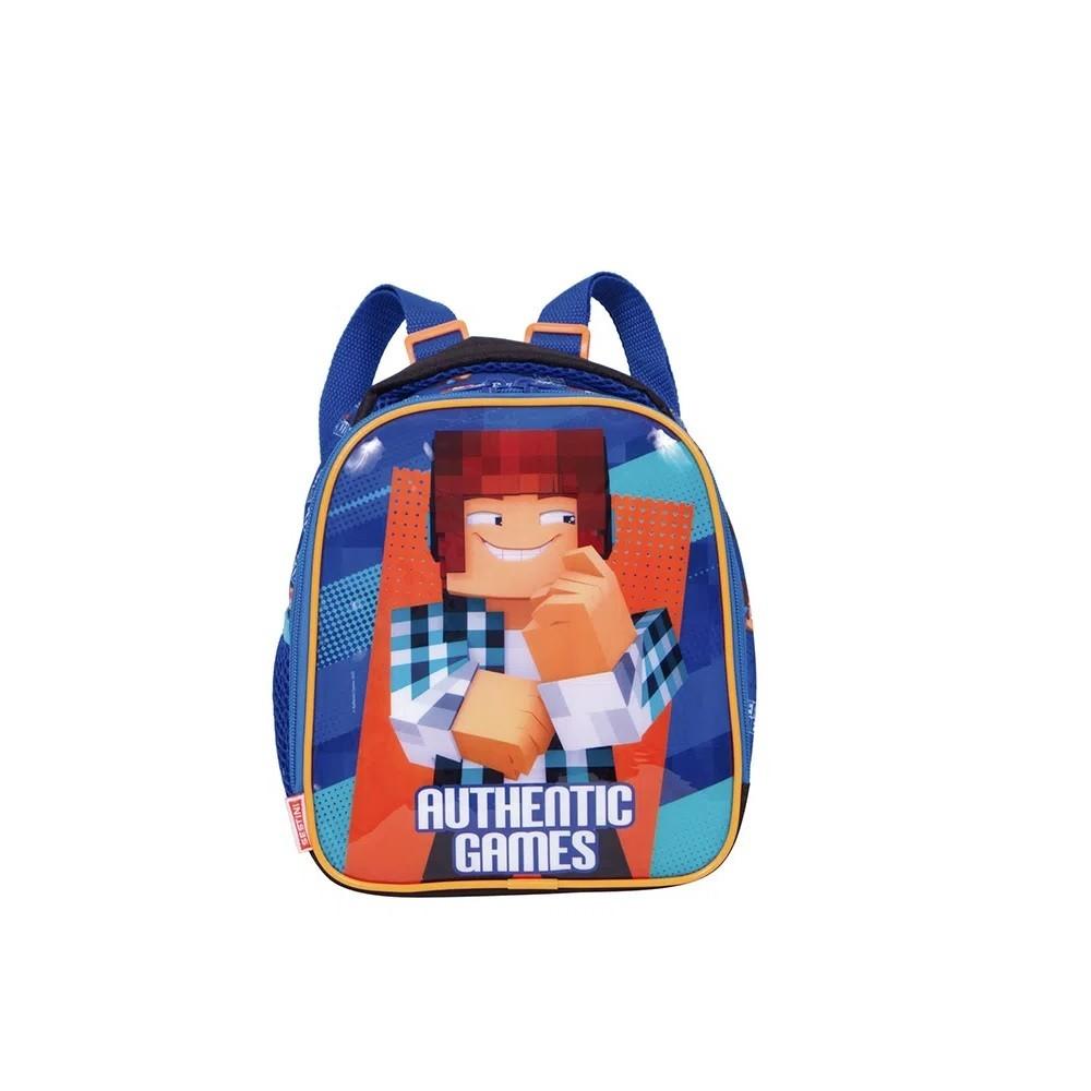 Kit Mochila Escolar Azul Authentic Games 21x Com Rodinhas Com Lancheiras  G Authentic Games - 065780-00 + 065782-00