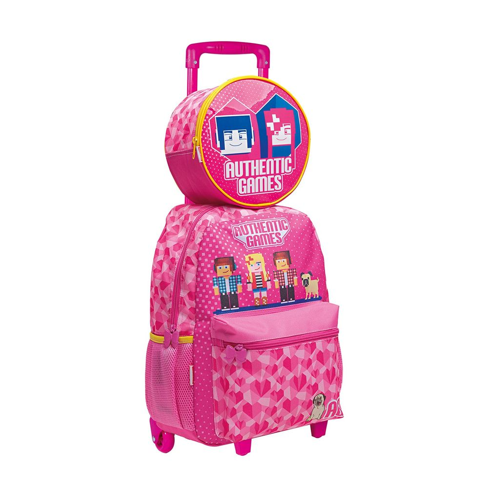 Kit Mochila Escolar Feminina + Lancheira Authentic Games Rosa Sestini - 065570-00+065576-00