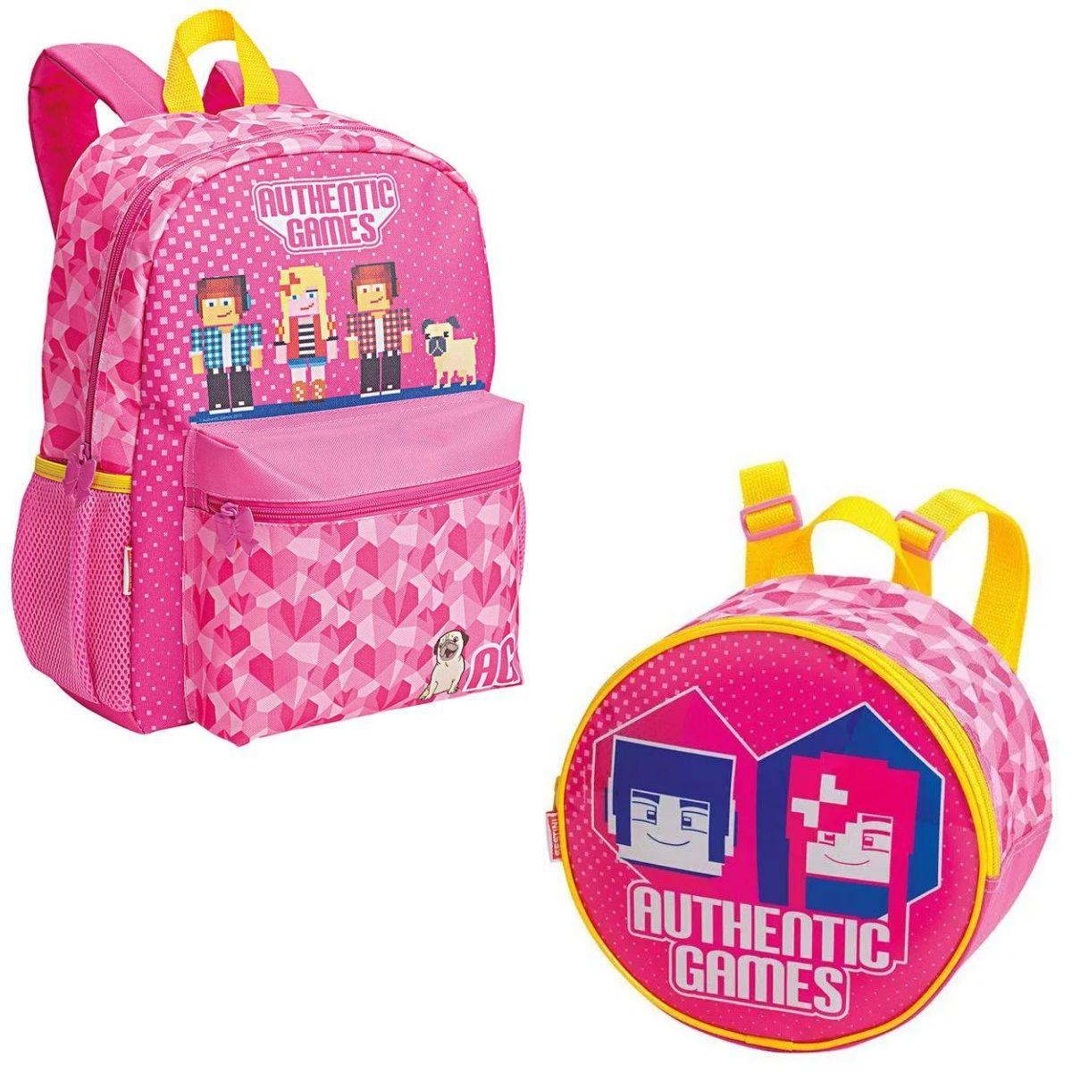 Kit Mochila Infantil Escolar Feminina Authentic Games Rosa Com Lancheira Sestini + 065575-00 + 065576-00