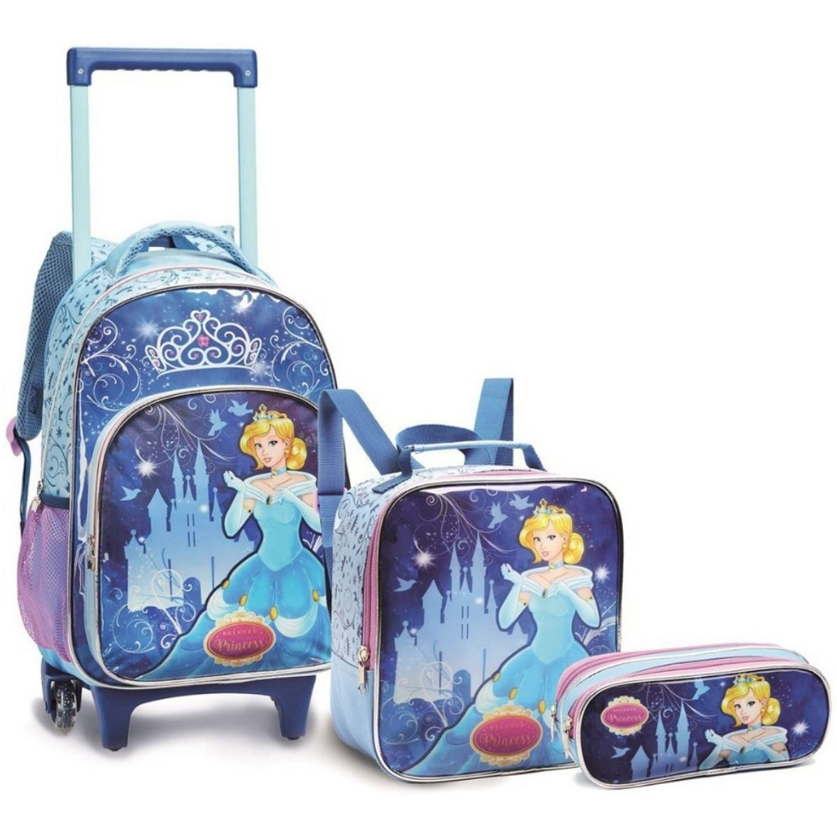 Kit Mochila Infantil Escolar Feminina Princesas De Rodinha Seanite - KT13951