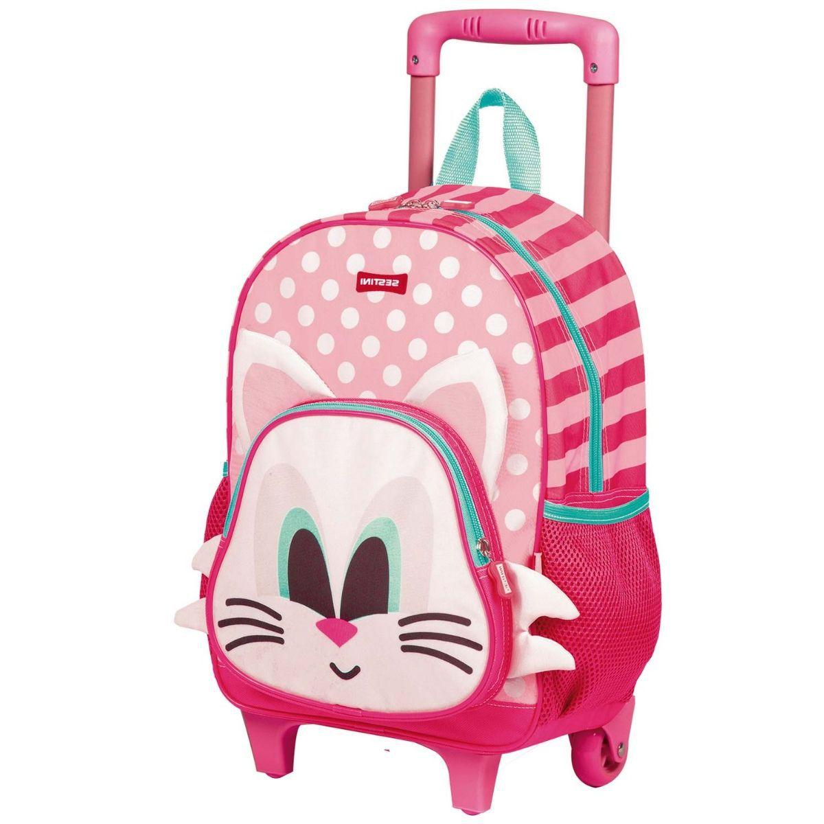 Mochila Infantil Feminina Escolar Com Rodinha Kids Cat - 065142-00