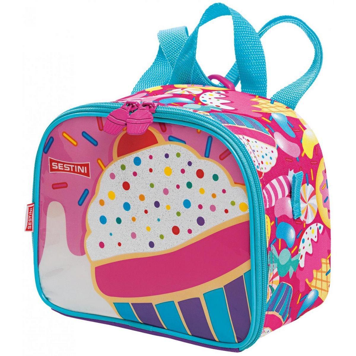 Kit Mochila Infantil Feminina Escolar De Rodinha Cupcake Sestini
