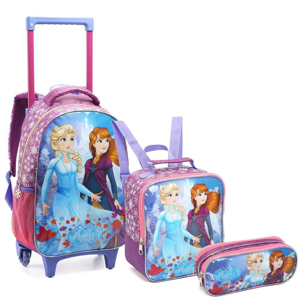 Kit Mochila Infantil Feminina Princess on ice Com Rodinha Escolar Seanite - KT14546