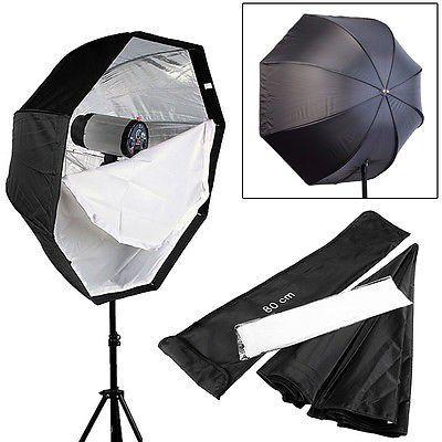 Kit Para Estúdio Fotográfico E Iluminação Octabox 80cm + Soquete Duplo E27