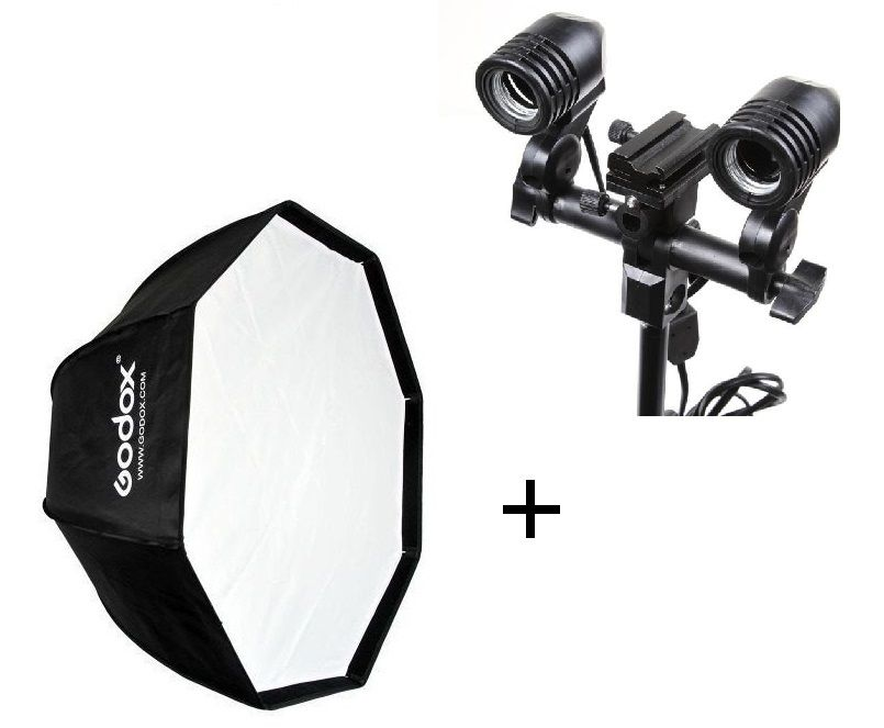 Kit Para Iluminação E Fotografia Octabox 95cm + Soquete Duplo Para Lâmpada E27