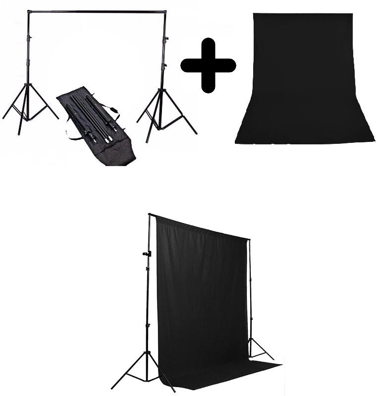 Kit Para Estúdio Fotográfico Profissional Com Tripés 3 Metros E Fundo Infinito Musilin Preto - Ys300 + Tecido Preto