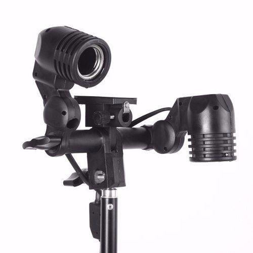 Kit Para Estúdio Fotográfico Universal Softbox 120cm + Soquete Duplo E27 + Tripé 2 Metros St-803