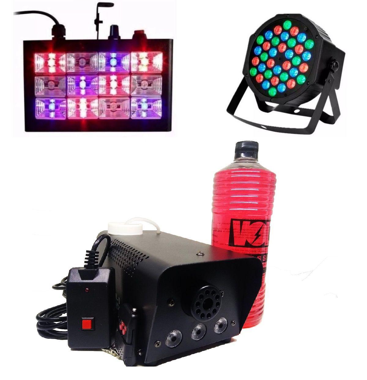 Kit Para Festa Luz 36 Leds 64 Rgb + Strobo Rgb + Maquina De Fumaça 600W Com Fluido