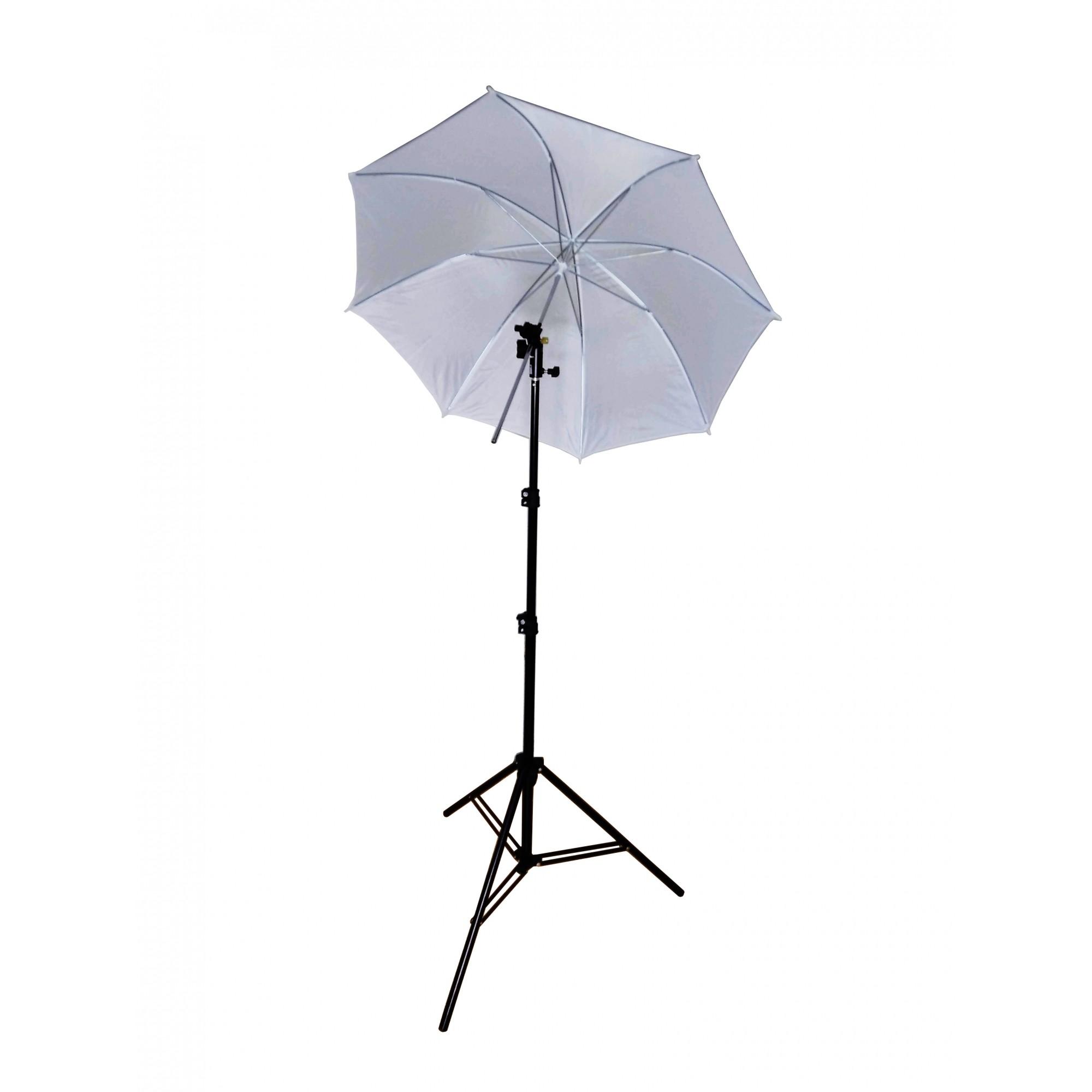 Kit Para Iluminação De Estúdio - Sombrinha Difusora Branca + Tripé 2 Metros st803 + Suporte Flash Speedlight