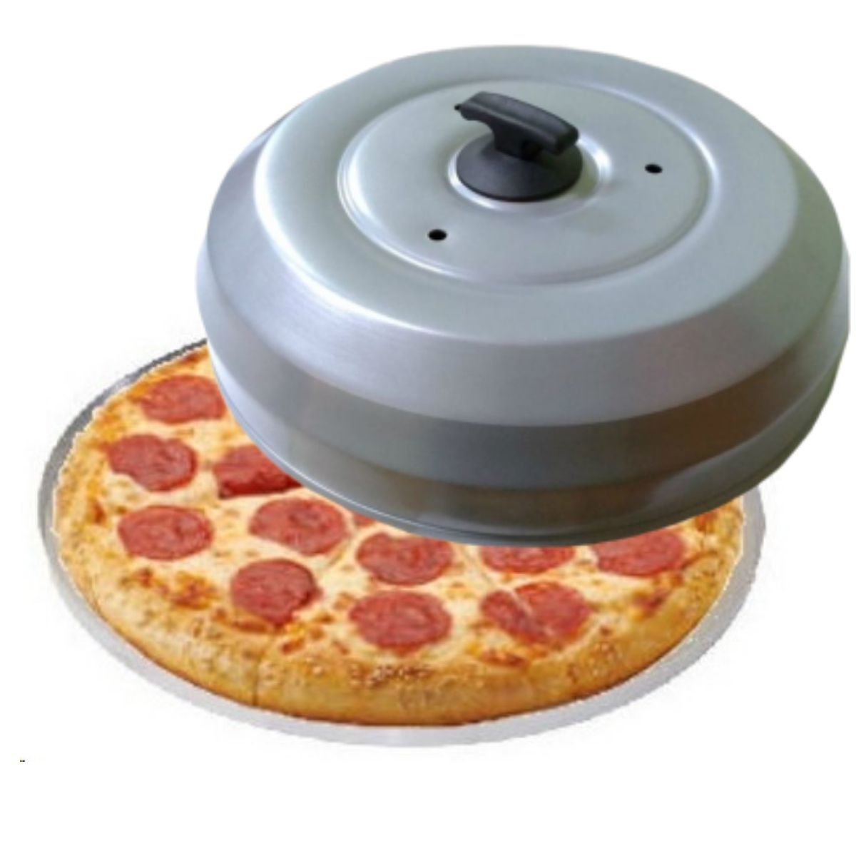Kit Para Pizza Com Forma De Pizza 35cm Borda Reforçada E Abafador De Pizza E Churrasco Cinza Grande - Gallizzi