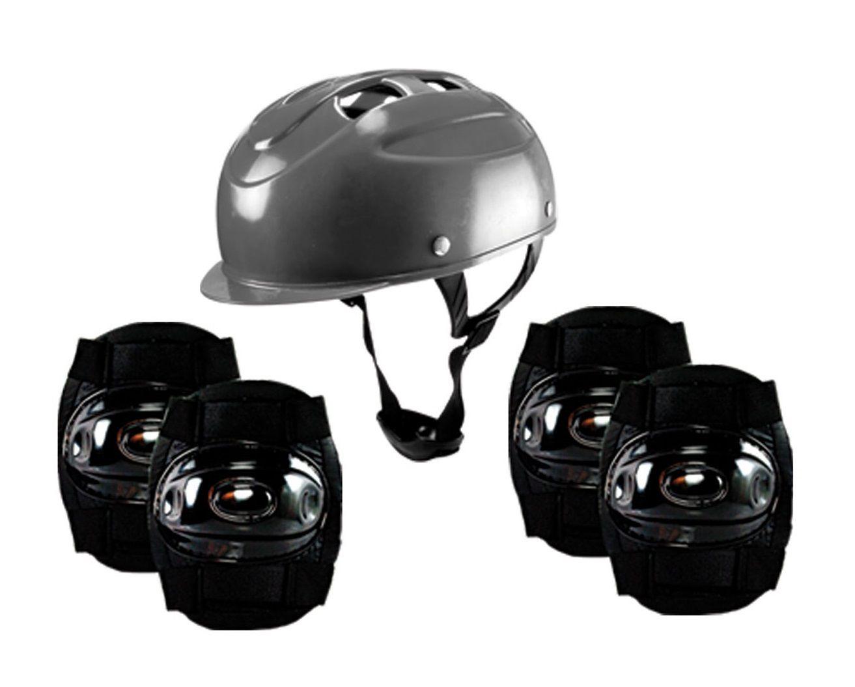 Kit Patinete Adulto E Infantil Preto Com Equipamentos De Proteção Masculino Para Patinete E Skate - CP02 + YTA-663PR-LX