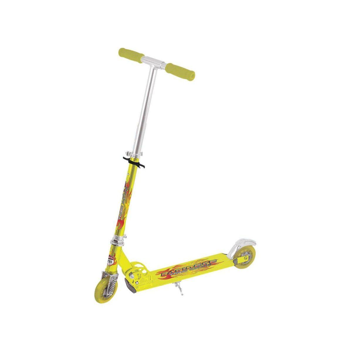 Kit Patinete Em Alumínio Amarelo Com Amortecedor Freio E Kit Proteção Capacete E Joelheira - TR-1016 + CP02