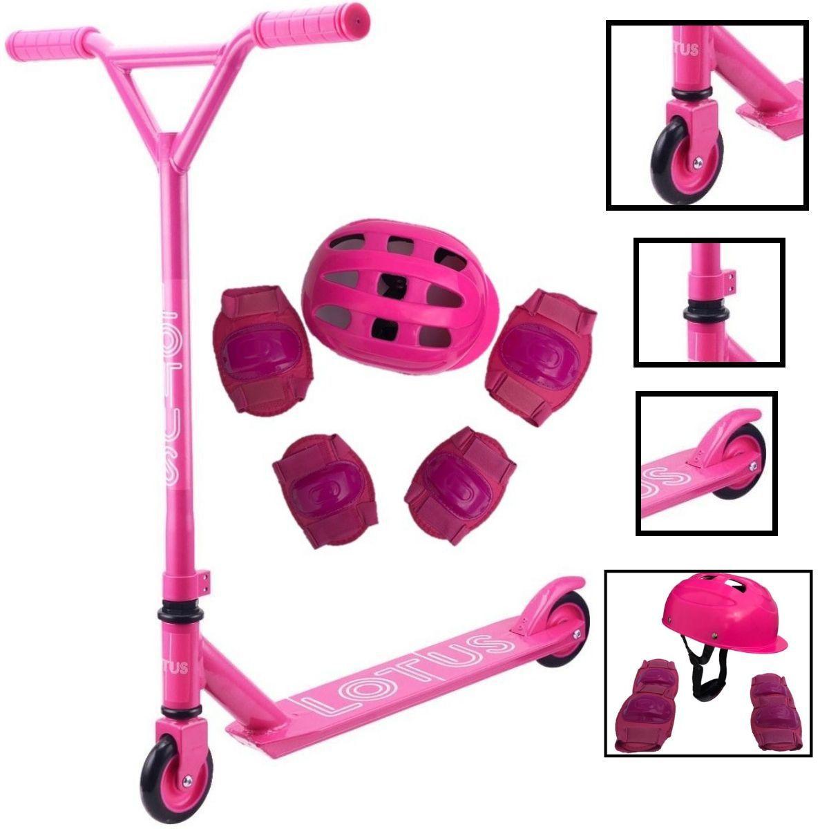 Kit Patinete Freestyle Para Manobras Até 100kg Feminino Rosa Com Proteção Segura Completa