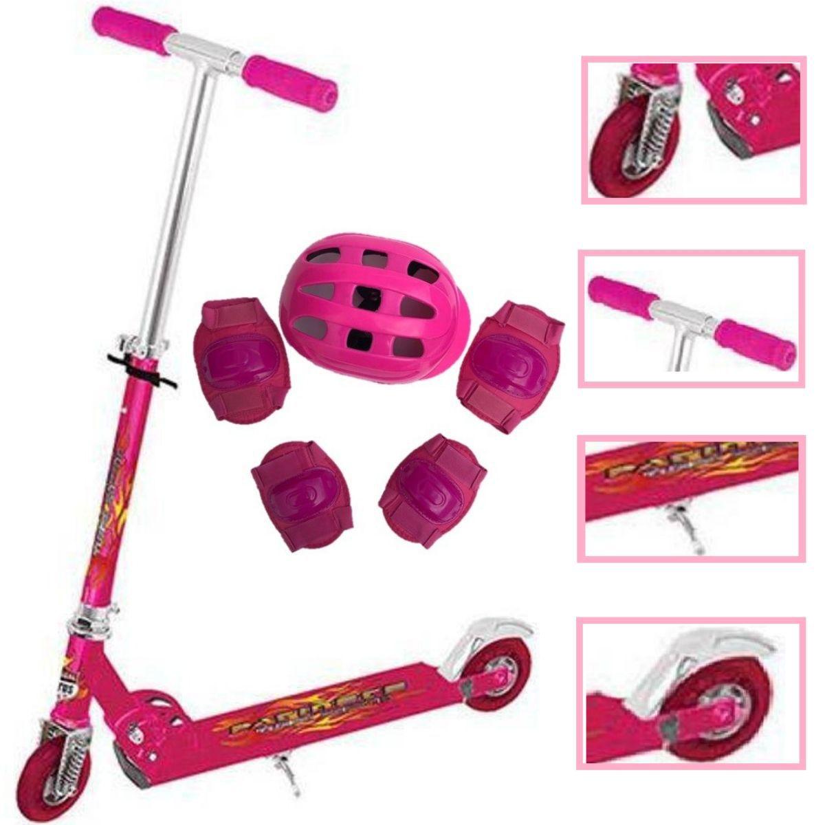 Kit Patinete Infantil Alumínio Rosa Com Amortecedor Freio E Kit Proteção Rosa Para Meninas - TR-1018 + Cp02 Rosa