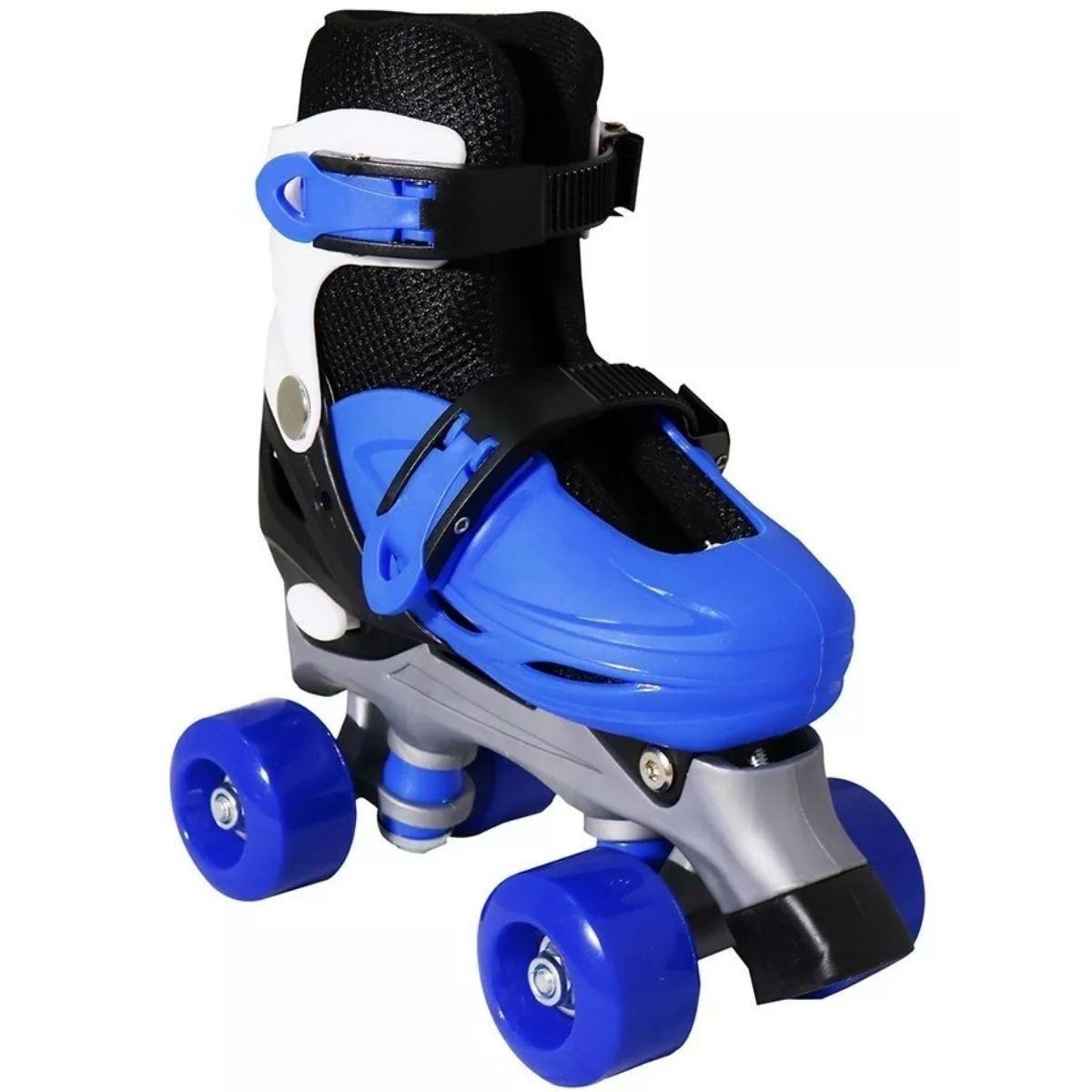 Kit Patins Infantil Azul 4 Rodas + Capacete + Joelheira + Cotoveleira - BW-016-AZ+CP02