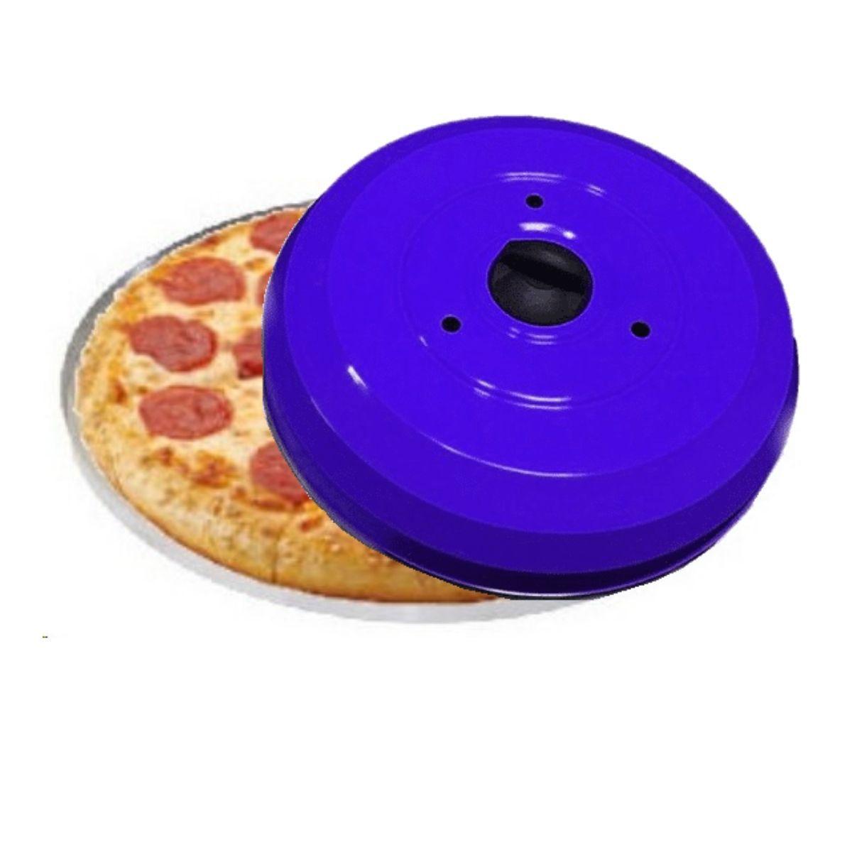 Kit Pizzaria Profissional Com Abafador De Pizza E Churrasco Azul Com Forma De Pizza 35cm