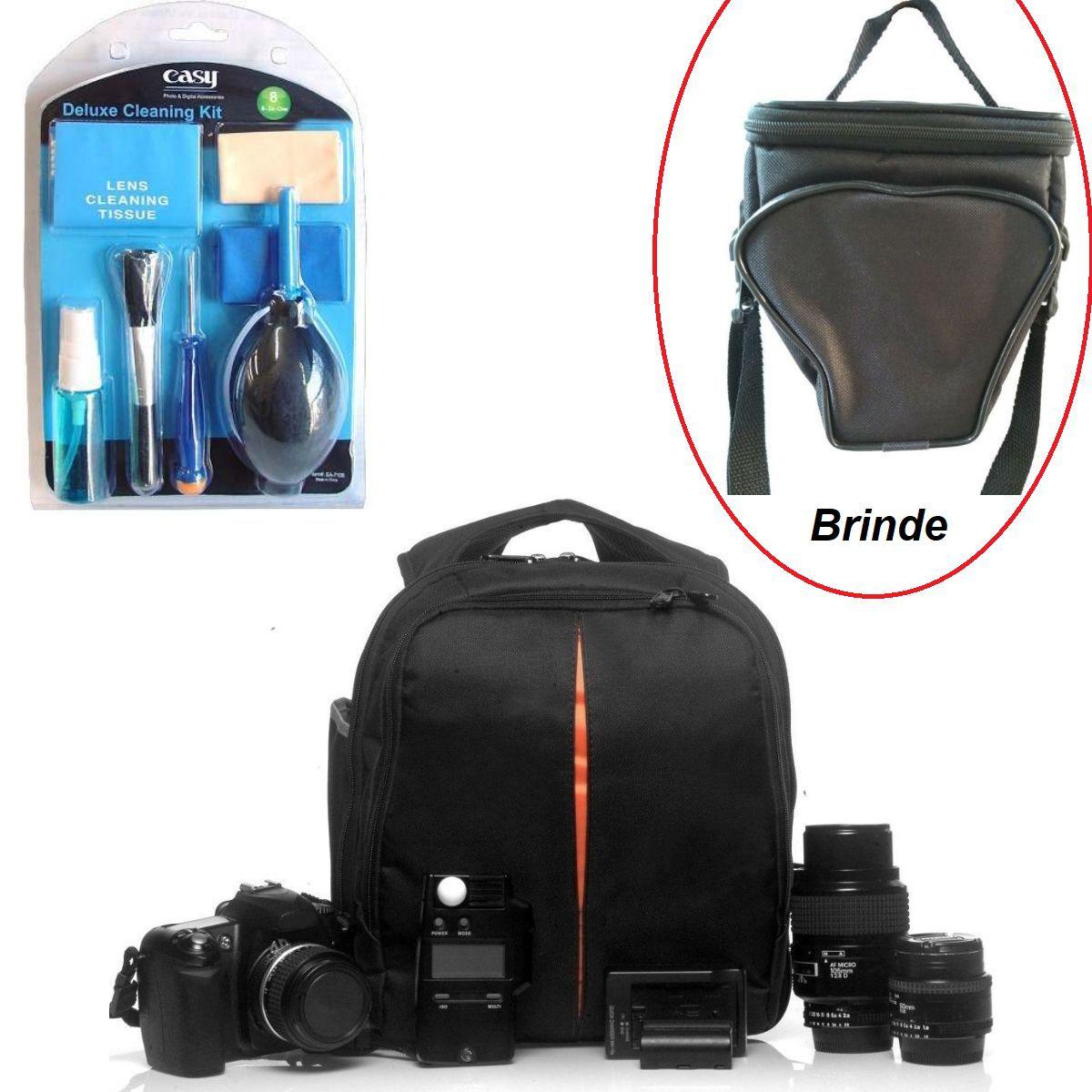 Kit Profissional Com Mochila Vmb2 Para Câmeras E Lentes Com Kit Limpeza 8x1 Easy Para Limpeza Com Brinde Bolsa ISA01
