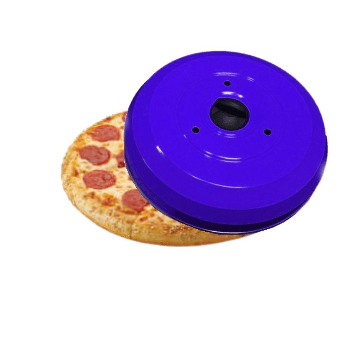 Kit Profissional Para Pizzaria Com Abafador De Pizza Azul E Pá De Pizza Cabo Reforçado