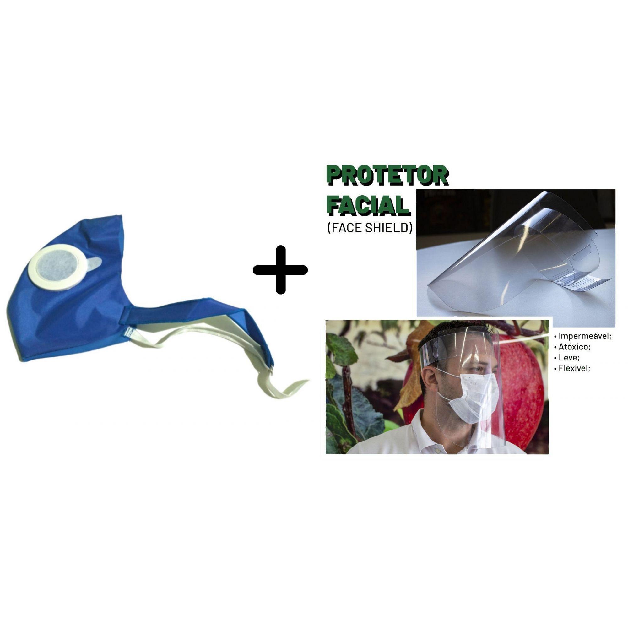 Kit Proteção Mascara + Face Shield + 100 Refis de Filtro