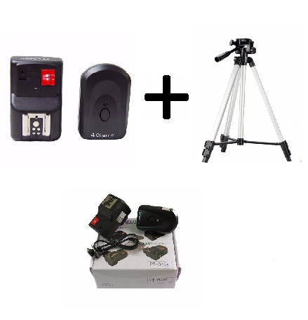 Kit Radio Flash Fotográfico Universal 4 Canais - PT-04 + Tripé DigiPod Para Maquina Fotográfica - TR-40CS