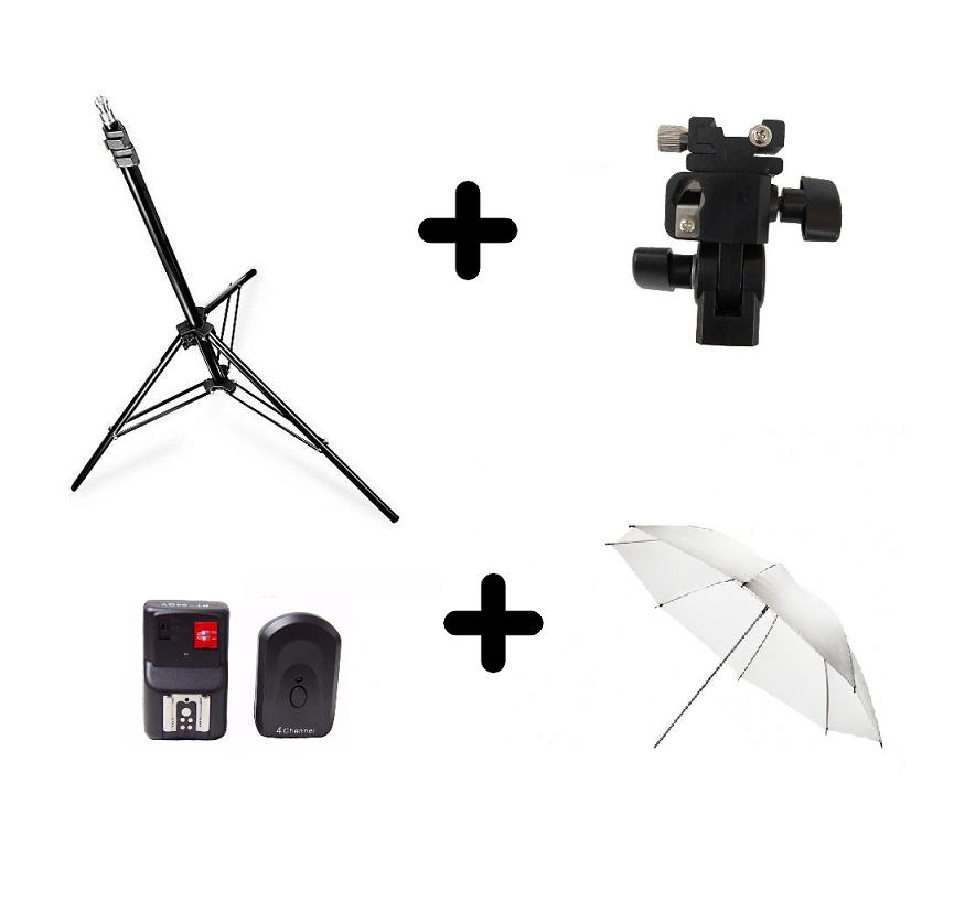 Kit Radio Flash PT04 + Sombrinha Branca + ST-803 + Suporte Speedlight